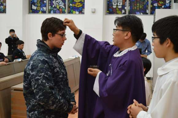 Ash Wednesday Mass in Busan, South Korea, 2014. A holy day. A duty day.